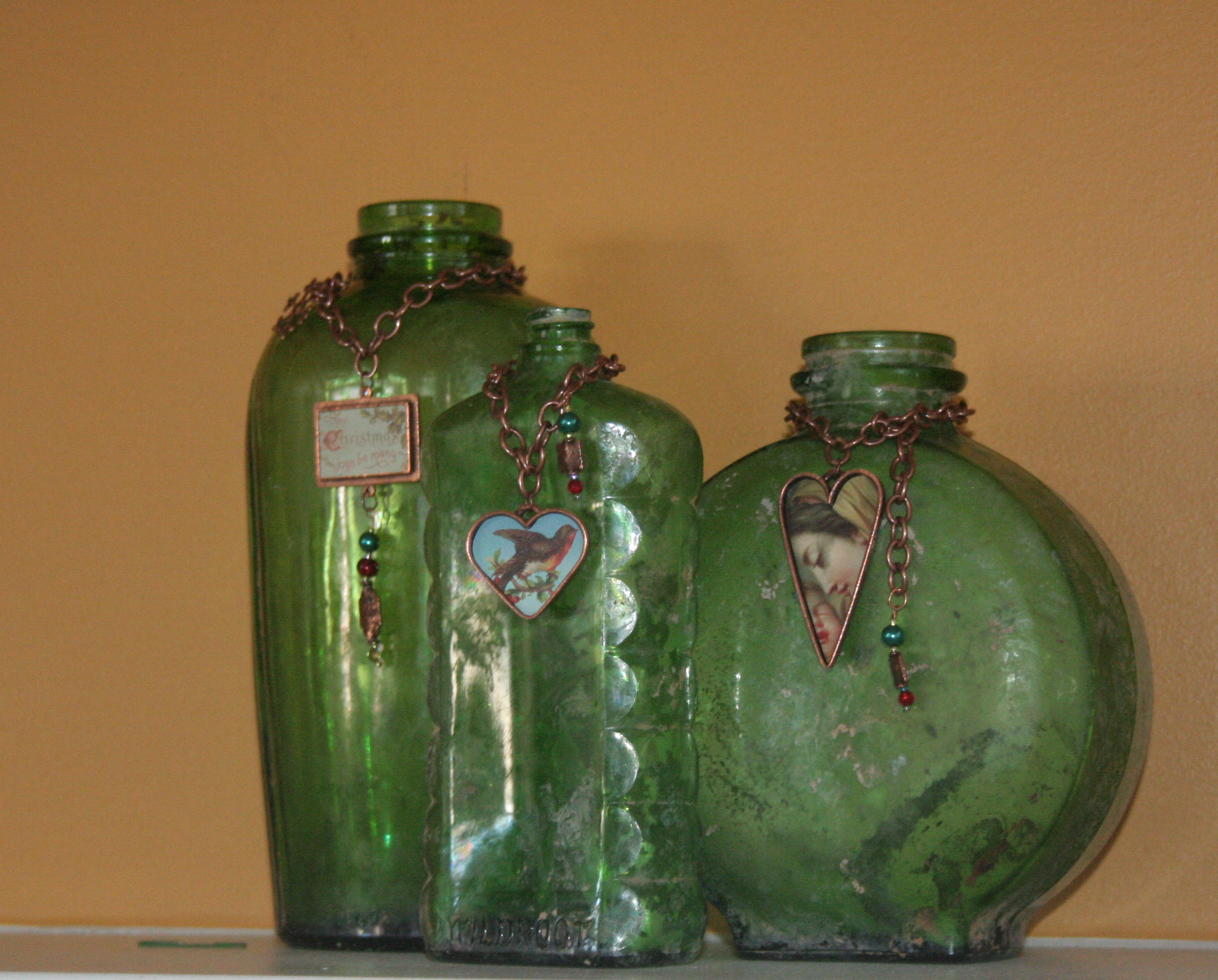 Vintage flea market find bottles with adorned with nunn design