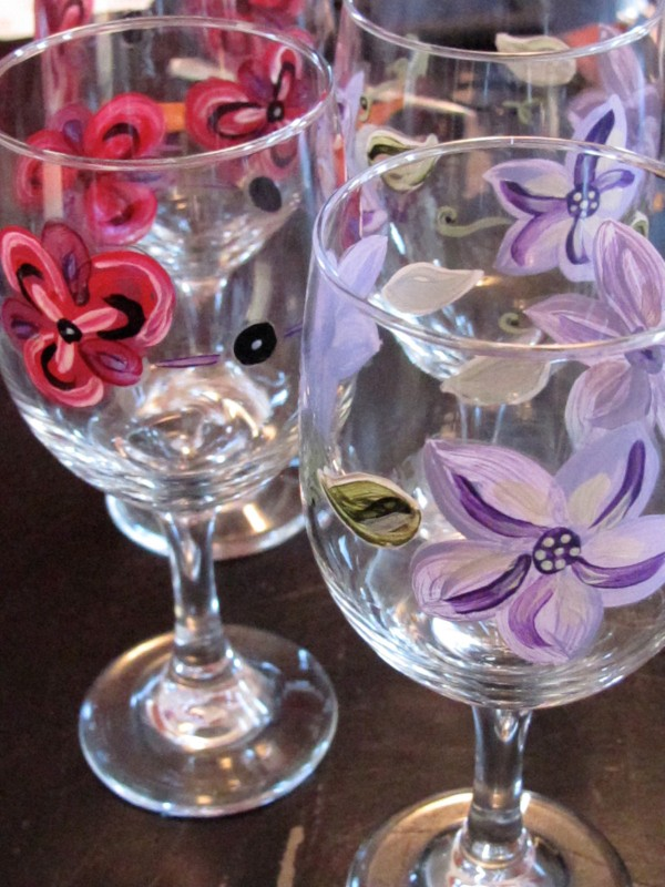 Hand painted wine glasses by Jen Goode