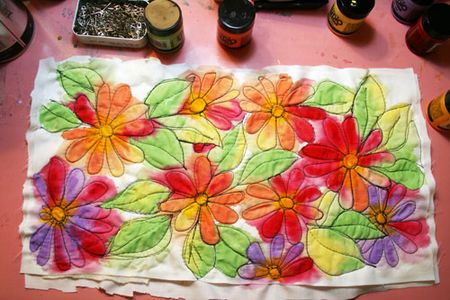 how to watercolor paint fabric