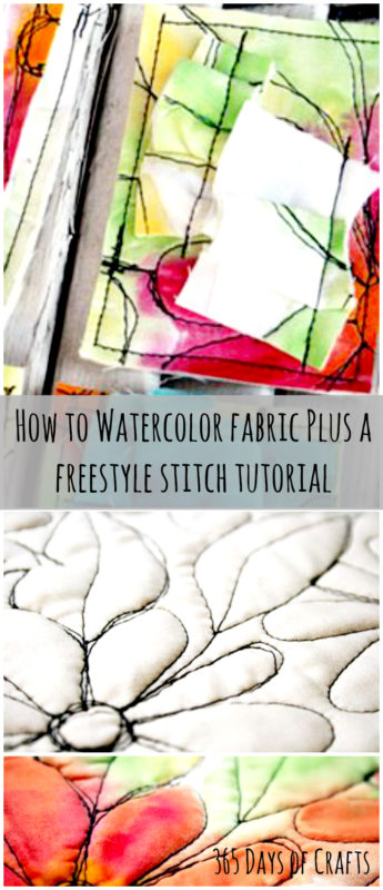 how to watercolor fabric freestyle stitching tutorial