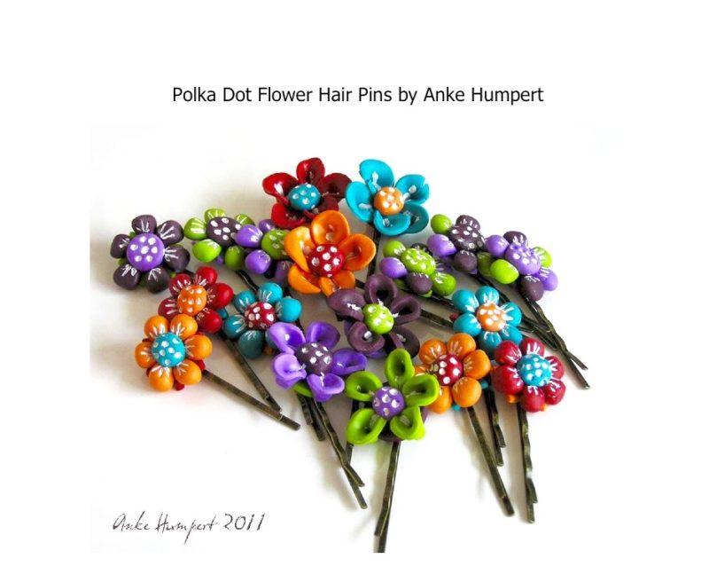 Polymer clay tutorial - polka dot hair pin jewelry by anke humpert