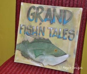 Grand Fishn Tales Painting by Megan Maravich