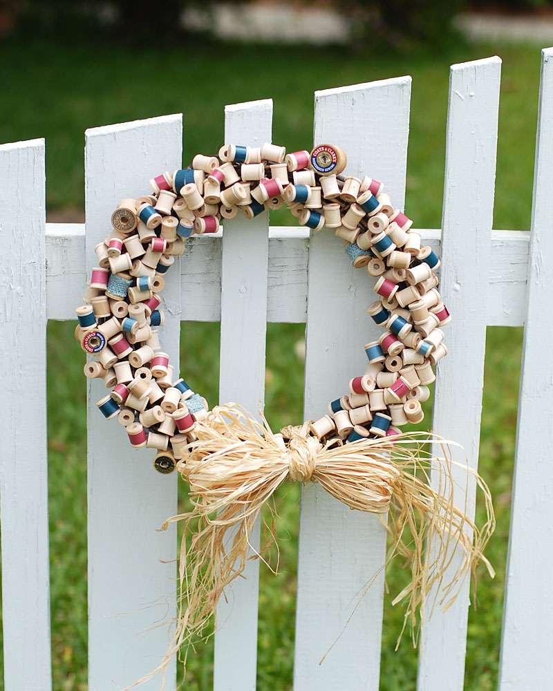 Thread Spool Wreath on Fence