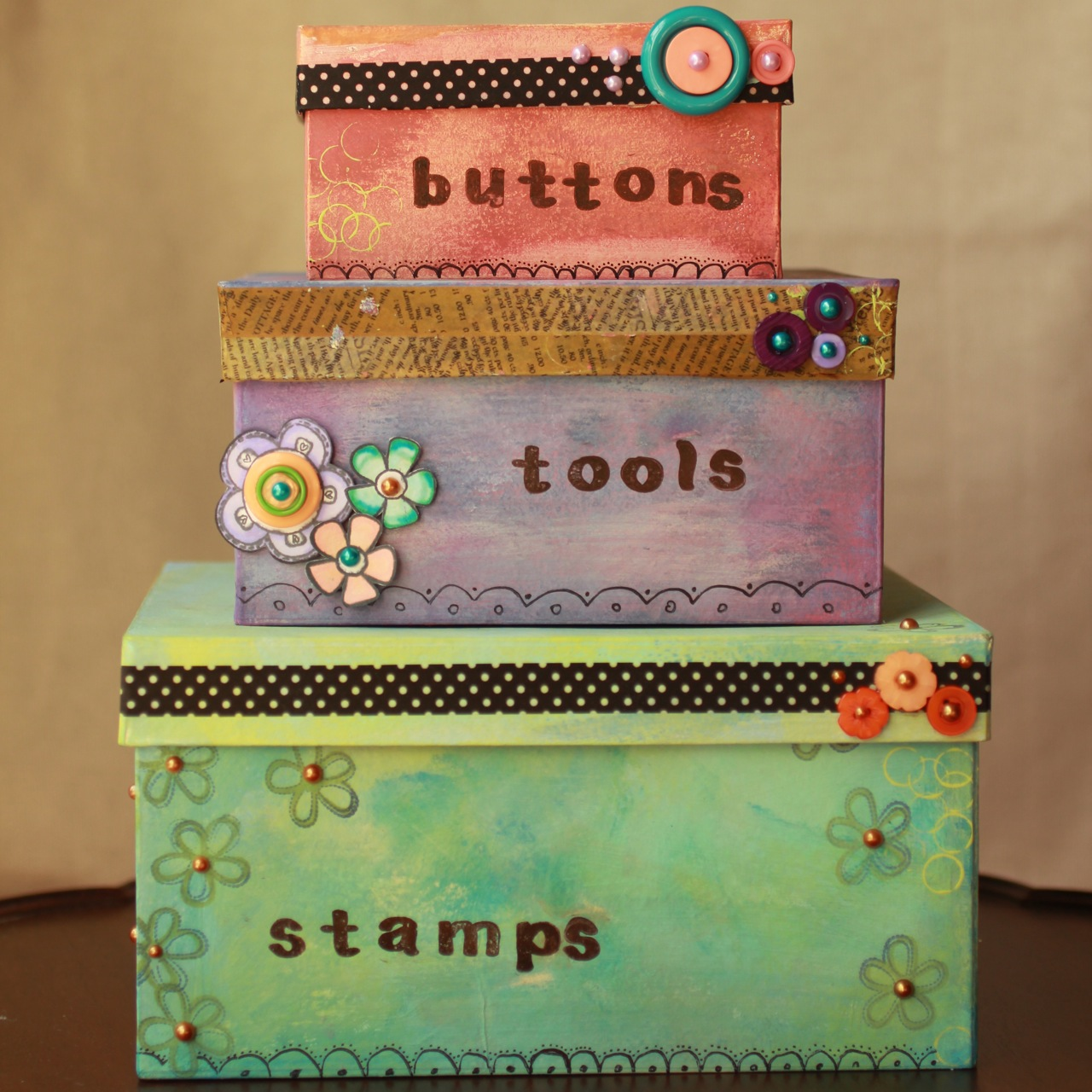 square boxes for craft room organization