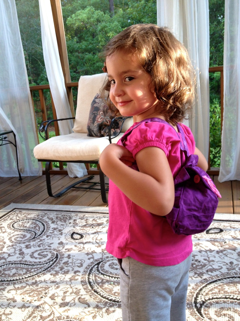 Preschool back pack dyed with Rit Dye