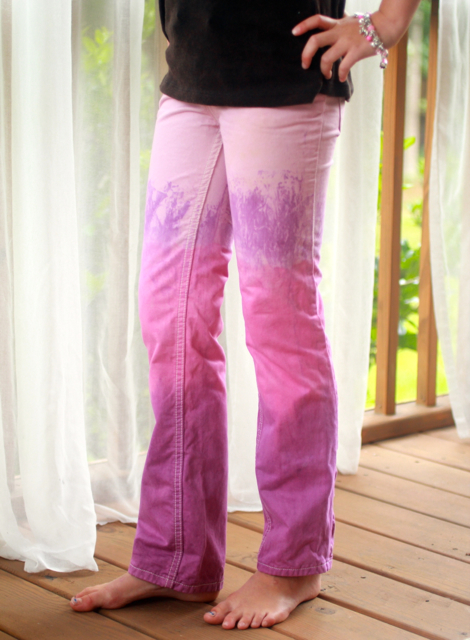 Front view Rit Dip Dyed Upcycled Pink and Purple Pants Jeans