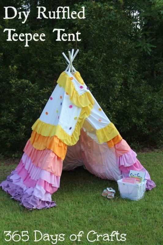 DIY Ruffled Teepee Tent tee pee tutorial