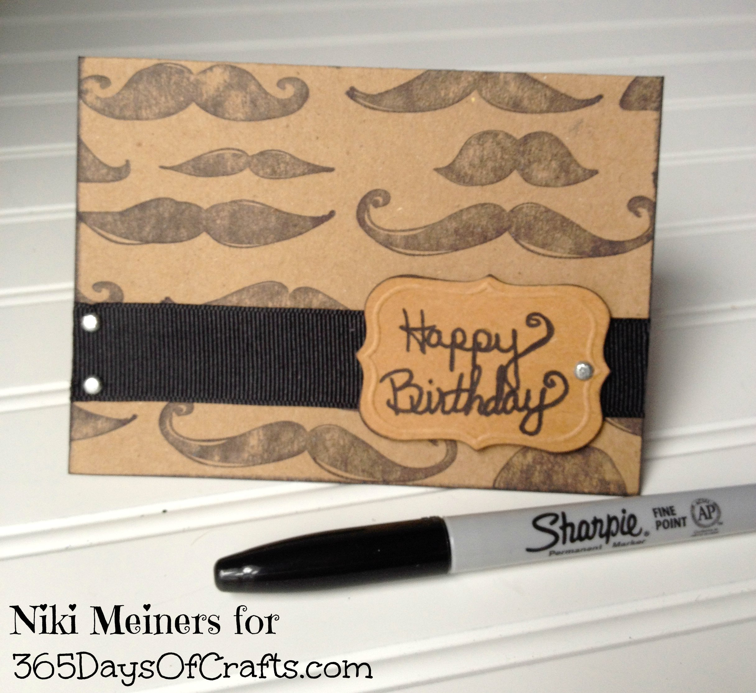 Mustache Crafts for MOvember 365 Days of Crafts DIY Art and – Mens Birthday Cards
