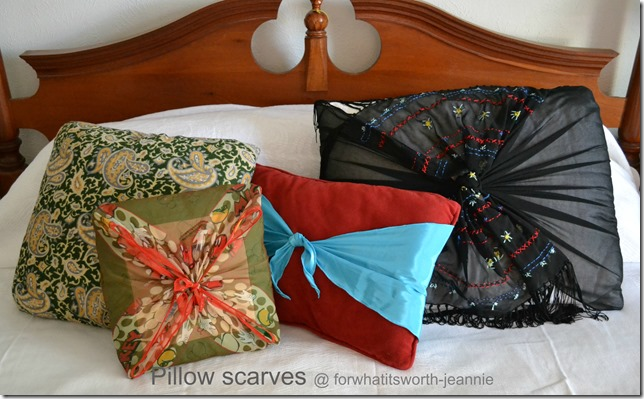 Pillow Makeovers with Scarves