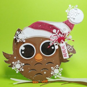 Little Owl Shaped Christmas Card