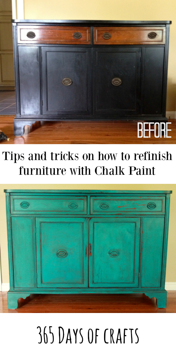 tips and tricks to for chalk paint on furniture refinished buffet Niki Meiners 365 days of crafts