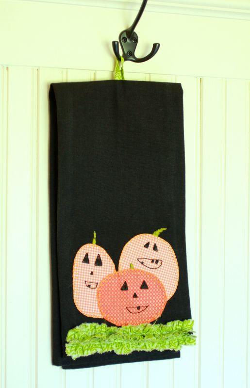 Pumpkin applique tea towel halloween