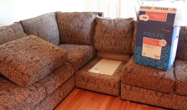 saggy sofa cushion removed