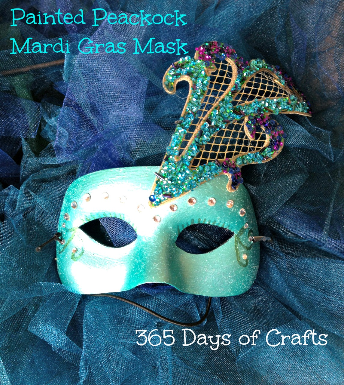 Peacock mardi gras mask 365 days of crafts inspiration for Mardi gras masks crafts