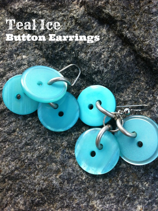 Teal Ice Button Earrings by Allie Gower