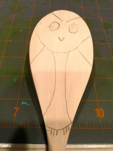 Owl wood spoon pyrography