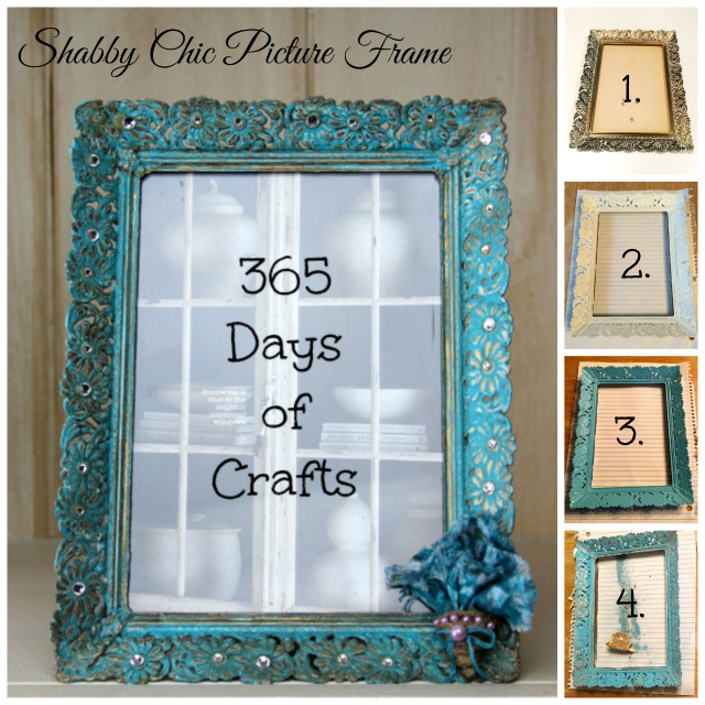 Diy shabby chic picture frame 365 days of crafts diy art for Shabby chic frames diy