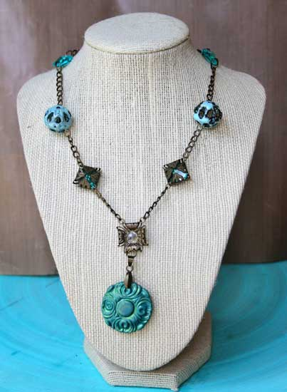 cool hues autumn necklace handmade necklace