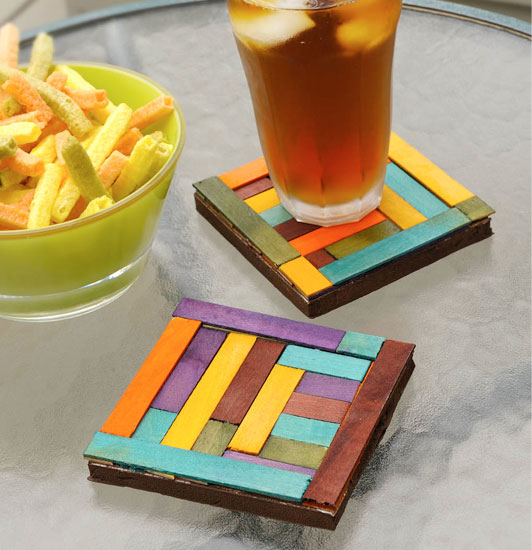 dyed wood coasters