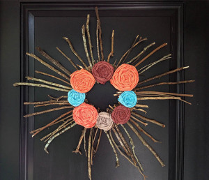 twig wreath with fabric flowers