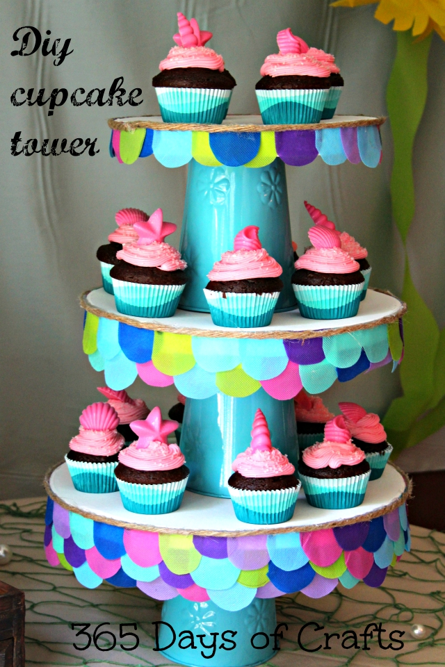 DIY Mermaid themed cupcake tower - 365 Days of Crafts