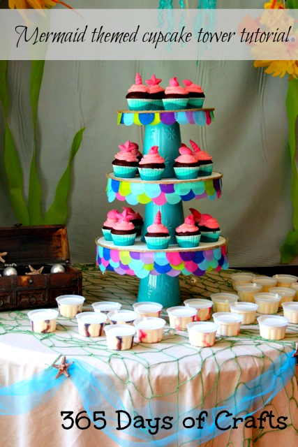 mermaid themed cupcake tower