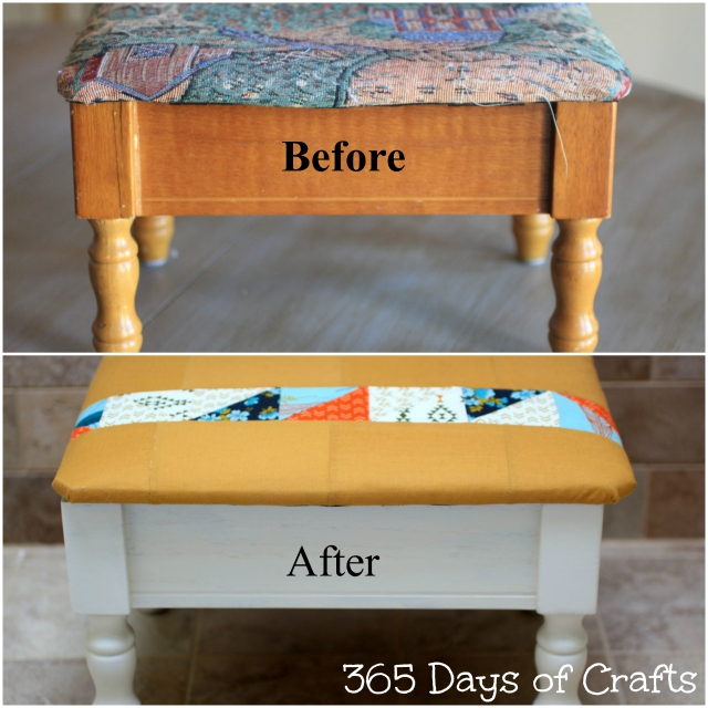 Sewing stool makeover collage