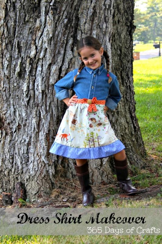 Easy sew Dress denim shirt makeover upcycle