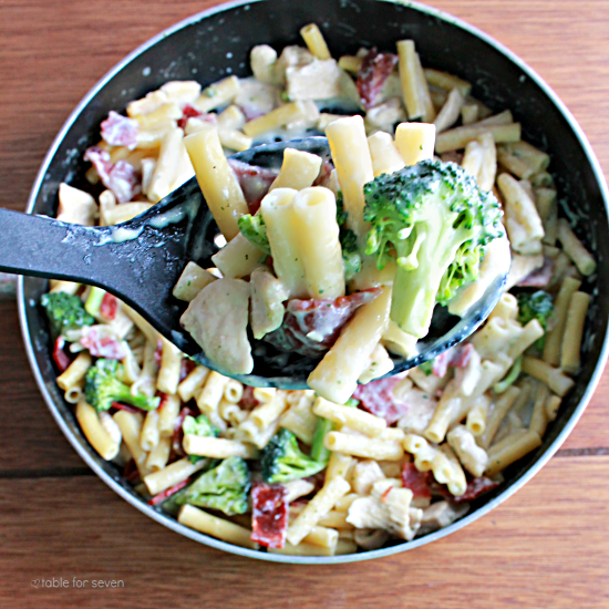 10 - Our Table for Seven - Chicken Bacon Ranch pasta Skillet