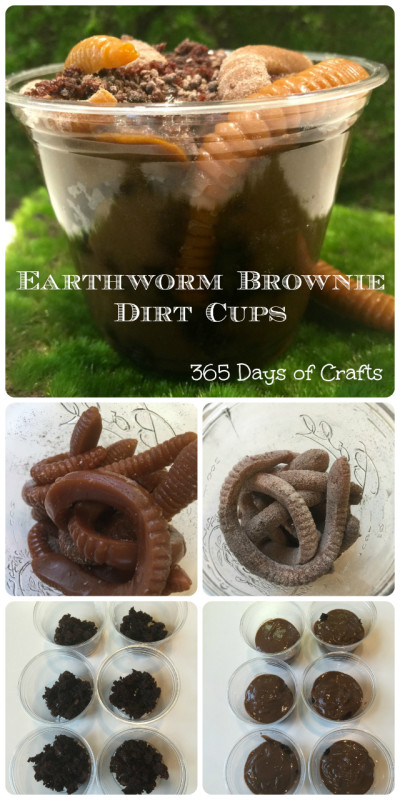 Gummy Earthworm brownie dirt cups made from easy to find ingredients and taste great