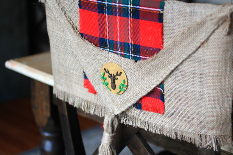 deer plaid christmas chair cover