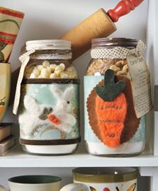 Spring jars needle felt bunny