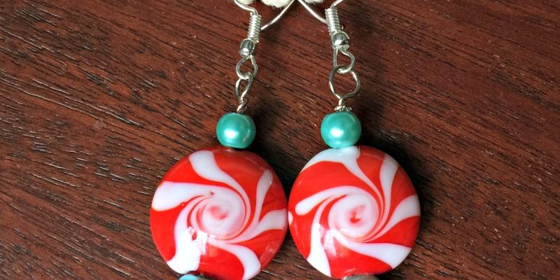 Make easy DIY earrings in less than 15 minutes.  winter themed peppermint jewelry for christmas.  Learn how to wrap earring wires in easy steps. tutorial provided